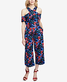 RACHEL Rachel Roy Printed Cold-Shoulder Cropped Jumpsuit