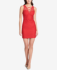 GUESS Crisscross Lace Sheath Dress