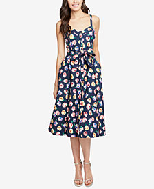 RACHEL Rachel Roy Floral Printed Belted Midi Dress