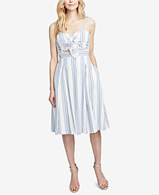RACHEL Rachel Roy Striped Twist-Front Cutout Dress