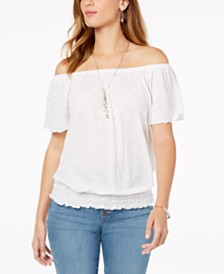 Style & Co Petite Convertible Off-The-Shoulder Top, Created for Macy's