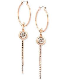 GUESS Charm & Crystal Fringe Hoop Earrings