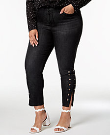 Seven7 Trendy Plus Size Grommet-Hem Skinny Ankle Jeans