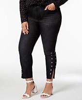 471a1e3bbd37f Seven7 Trendy Plus Size Grommet-Hem Skinny Ankle Jeans