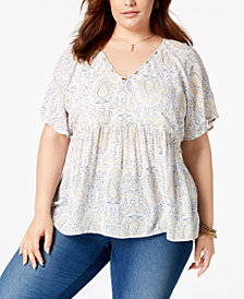 Lucky Brand Trendy Plus Size Peplum-Hem Top