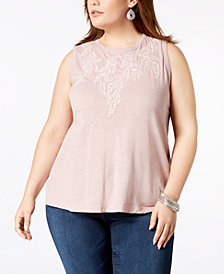 Lucky Brand Trendy Plus Size Embroidered Ruched Top