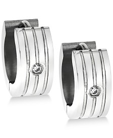 Sutton by Rhona Sutton Men's Stainless Steel Cubic Zirconia Huggie Hoop Earrings