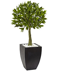 "Nearly Natural 42"" Bay Leaf UV-Resistant Indoor/Outdoor Artificial Topiary in Black-Washed Planter"