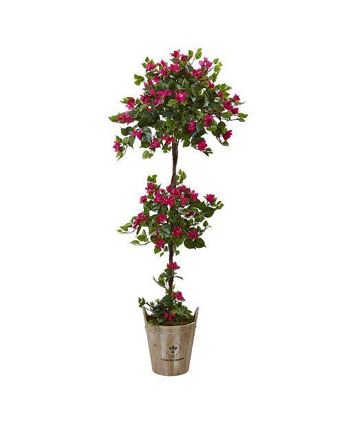Nearly Natural 5.5' Bougainvillea Artificial Tree with European Barrel Planter