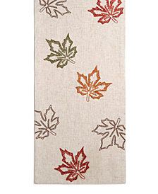 "Bardwil Stitched Leaf 14"" x 70"" Table Runner"