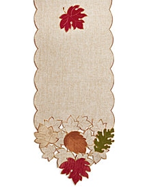 "Elrene Serene Velvet Leaves 13"" x 70"" Table Runner"