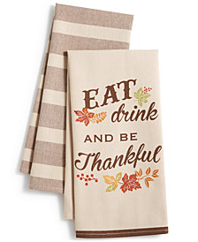 Homewear Set of 2 Eat, Drink, Thankful Kitchen Towels
