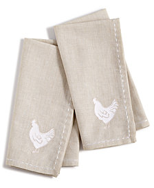 Martha Stewart Collection Farmhouse Chicken Napkins, Set of 2, Created for Macy's