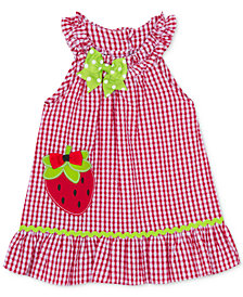 Rare Editions Baby Girls Strawberry Gingham Seersucker Dress