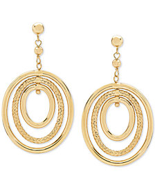 Oval Orbital Drop Earrings in 10k Gold