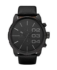 Men's Chronograph Black Leather Strap Watch 58x52mm
