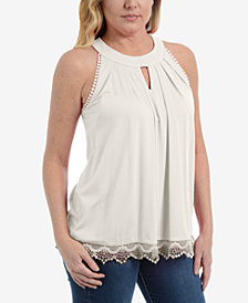 NY Collection Petite Lace-Hem Halter Top