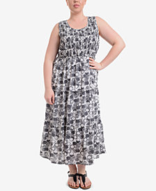 NY Collection Plus Size Printed Tiered Maxi Dress