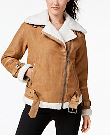 Collection B Juniors' Mixed Media Belted Moto Jacket