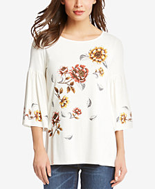 Karen Kane Bell-Sleeve Printed Top