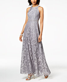 Jessica Howard Embellished Lace Halter Gown