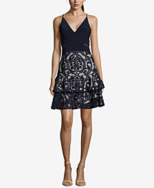 Xscape Ruffled Damask Fit & Flare Dress