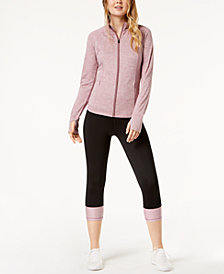 Ideolog Performance Zip Jacket & Colorblocked Cropped Leggings, Created for Macy's