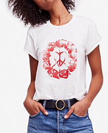 Free People Black Rose Graphic-Print T-Shirt