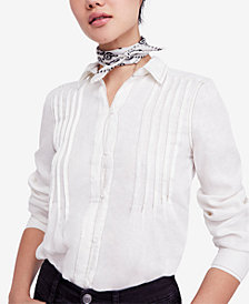 Free People Linen Pleated Shirt