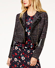 Zoe by Rachel Zoe Tweed & Faux-Leather Moto Jacket, Created For Macy's