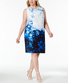 Calvin Klein Plus Size Ombré Printed Sheath Dress