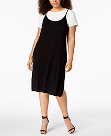 Calvin Klein Plus Size Layered-Look Dress
