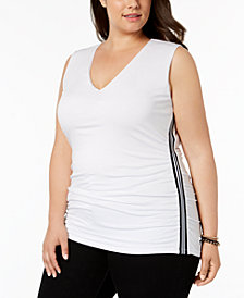 I.N.C. Plus Size Side-Stripe Tank Top, Created for Macy's