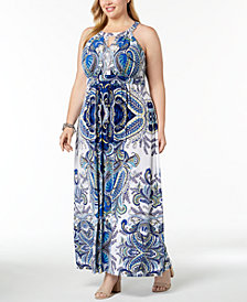 I.N.C. Plus Size Printed Halter Maxi Dress, Created for Macy's
