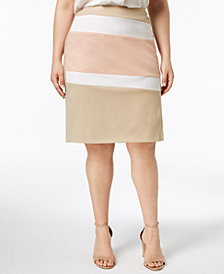 Calvin Klein Plus Size Colorblocked Pencil Skirt