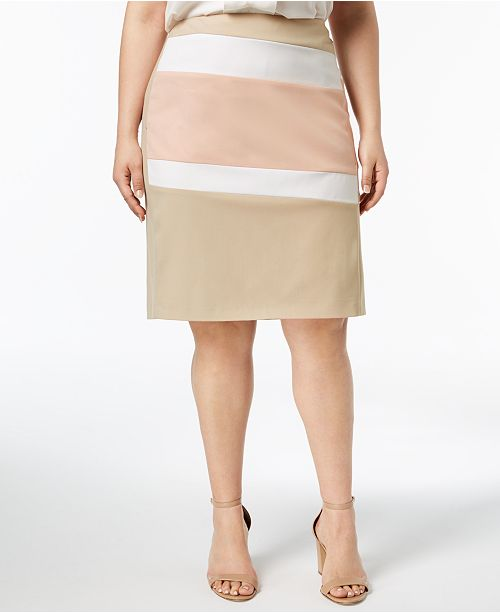 264f1d8cbcd1b2 Calvin Klein Plus Size Colorblocked Pencil Skirt - Skirts - Plus ...