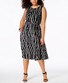 Jessica Howard Plus Size Printed Midi Dress