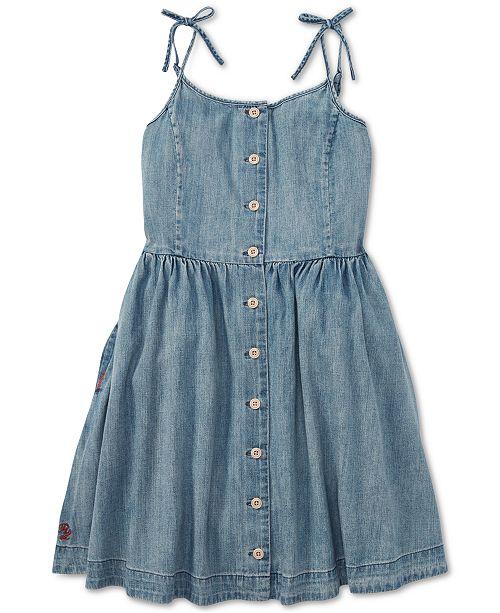 f0480cd05c9 Polo Ralph Lauren Big Girls Buttoned Cotton Denim Dress   Reviews ...
