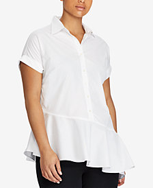 Lauren Ralph Lauren Plus Size Asymmetrical Cotton Shirt