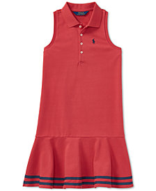 Polo Ralph Lauren Big Girls Striped Mesh Polo Dress