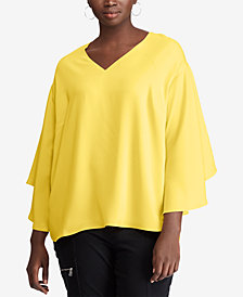 Lauren Ralph Lauren Plus Size Bell-Sleeve Top