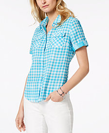 Tommy Hilfiger Cotton Gingham Utility Shirt, Created for Macy's