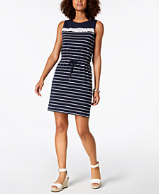 Tommy Hilfiger Striped Drawstring-Waist Dress, Created for Macy's