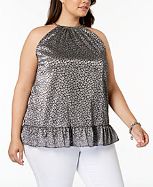 MICHAEL Michael Kors Plus Size Metallic Leopard-Print Top