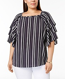 Plus Sized Striped Tiered-Sleeve Top, Created for Macy's