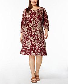 Karen Scott Plus Size Printed 3/4-Sleeve Dress, Created for Macy's