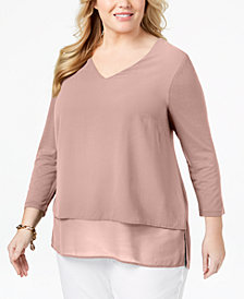 MICHAEL Michael Kors Plus Size Mixed-Media V-Neck Tunic
