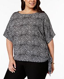 MICHAEL Michael Kors Plus Size Leopard-Print Side-Tie Top
