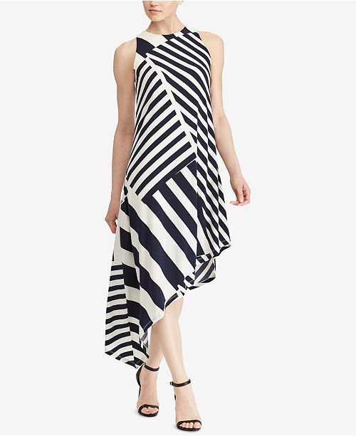 Lauren Ralph Lauren Striped Asymmetrical Dress