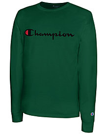 Champion Men's Script Logo Long Sleeved T-Shirt